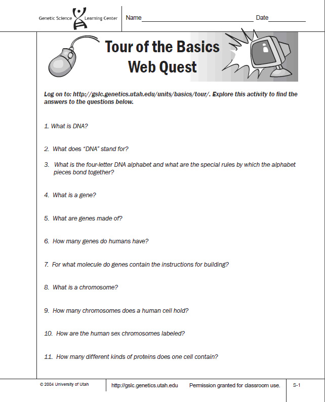 Tour of the Basics Webquest Ms A Science Online – Dna and Genes Worksheet Answers